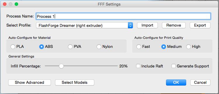 تنظیمات فرایند Simplify3D برای FlashForge Dreamer
