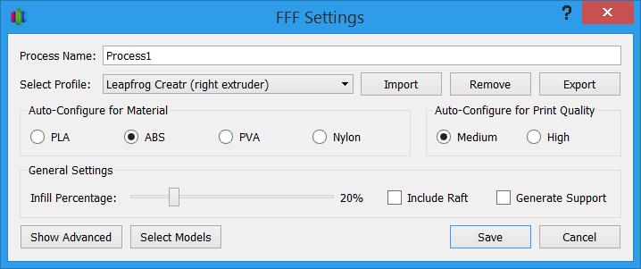 تنظیمات FFF