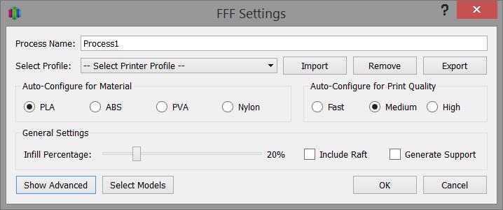 اضافه کردن یک روندFFF تنظیمات