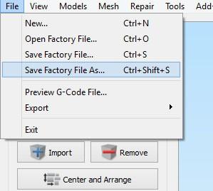 ذخیره یک فایل کارخانه